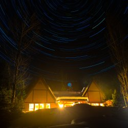 Silvertip lodge under the stars at Silvertip lodge