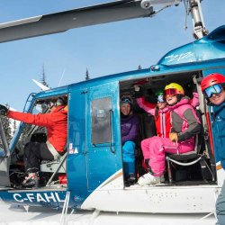 silvertip heli ski group in helicopter